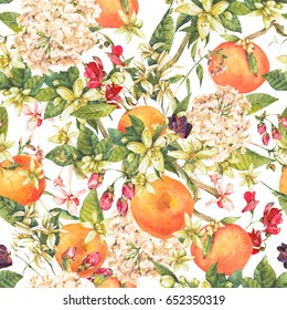 Watercolor blooming orange twig with summer flowers, floral seamless pattern, botanical natural illustration on white background