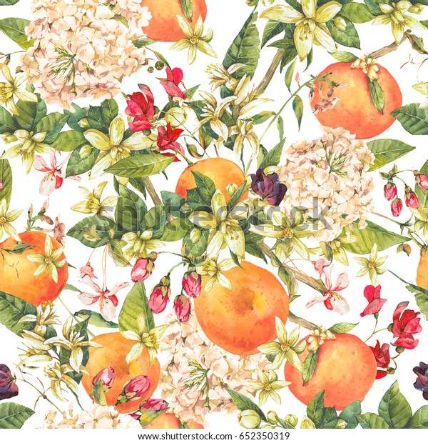 Tapa naranja cromática con flores de verano, motivos florales sin costura, ilustración botánica natural sobre fondo blanco