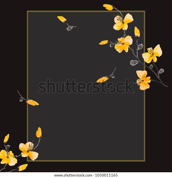 Watercolor blossoming spring branch with yellow flowers on the black background. Floral decoration. Birthday card.