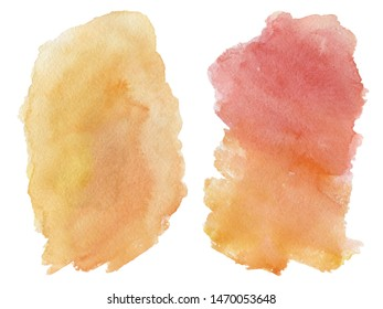 Watercolor blot isolated on white background. Red and orange watercolor blot for your design.
