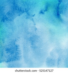 Watercolor blue background with texture watercolor paper, like the sky or sea water.