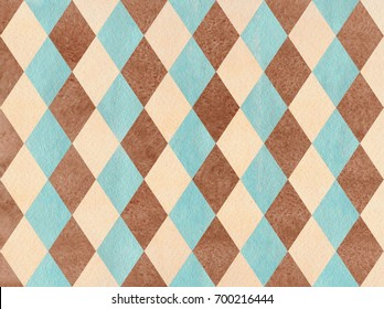 Watercolor blue, beige and brown diamond pattern. Geometrical traditional ornament for fashion textile, cloth, backgrounds.