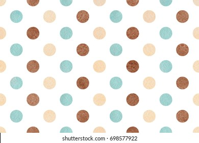 Watercolor blue, beige and brown polka dot background. Pattern with colorful polka dots for scrapbooks, wedding, party or baby shower invitations.