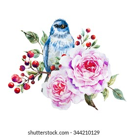 watercolor, blue bird with flower roses, red berries, card