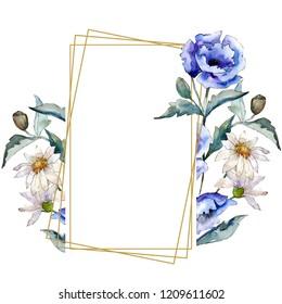 Watercolor blue bouquet of poppy flower. Floral botanical flower. Frame border ornament square. Aquarelle wildflower for background, texture, wrapper pattern, frame or border.