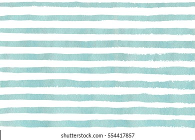 Watercolor blue brush strokes on white background. Hand drawn grunge stripes pattern for fabric print, textile design, fashion.