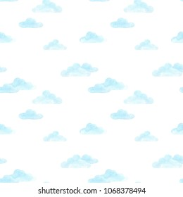 Watercolor blue clouds on white background. Illustration drawn by hand. Seamless Pattern. Design for baby textile, Wallpaper, wrapping paper, greeting card. children's print.