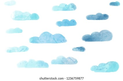 Watercolor blue clouds in white background