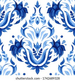 Watercolor blue damask hand drawn floral design. Seamless pattern, indigo renaissance tiling ornament. Royal portuguese abstract filigree background. Elegant decorative revival tracery design.