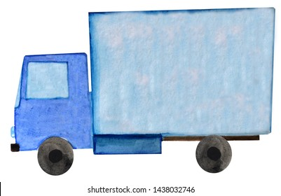 Watercolor blue delivery trailer truck on white background. raster illustration