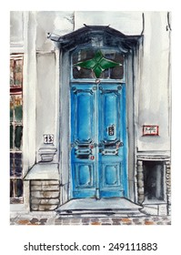 Watercolor blue door