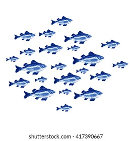 Watercolor blue fishes set isolated on white background. Hand painting on paper