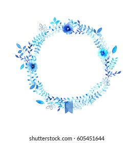 Watercolor blue floral wreath with flowers, leaves, branches, ribbon.
