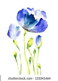 Watercolor blue flowers