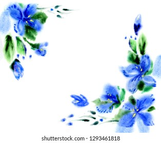 Watercolor blue flowers. Floral background