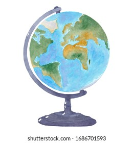 Watercolor blue and green terrestrial globe on black base. One single object, side view. Hand painted.Graphic drawing on white background, cut out clipart emblem for design and decoration.