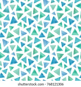 watercolor blue and green triangle abstract seamless pattern