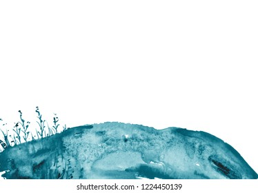 Watercolor blue hill, hillock, grass. Summer landscape on white isolated background. Suburban landscape, seabed with algae.