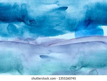 Watercolor blue hill, hillock, mountain, grass. blue sun, moon. Summer landscape. Abstract splash of blue  paint. Beautiful art banner, logo.