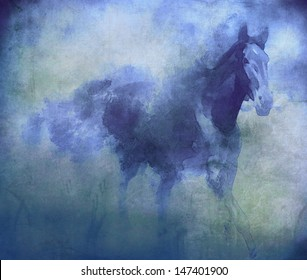 Watercolor blue horse