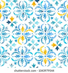 Watercolor blue, indigo seamles pattern. Moroccan vintage ornament as backgrounds, for fabric, wallpaper, textile,  websites, home decor (pillows, towels, napkins), tableware