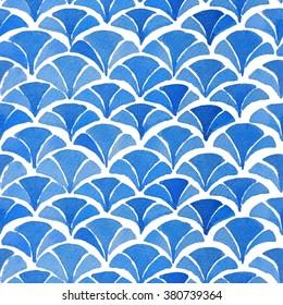 Watercolor blue japanese pattern. Kimono pattern collection.