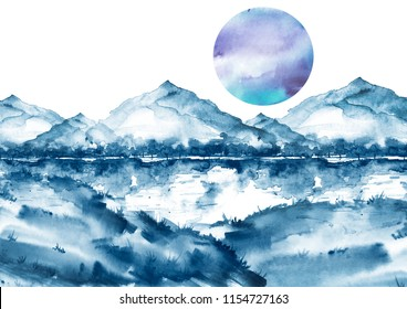 Watercolor blue mountain landscape, , peak, forest silhouette, reflection in the river, blue moon, full moon.  Country landscape, watercolor illustration, picture.