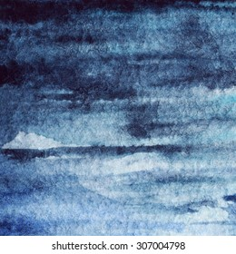 Watercolor blue navy water stripe texture background