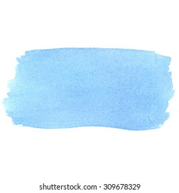Watercolor blue paint stain solated on white background. Hand painting on paper