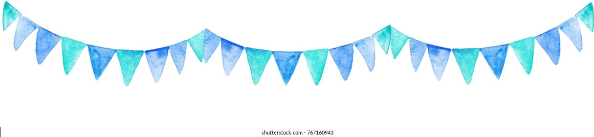 Watercolor blue party flags. For design, print or background