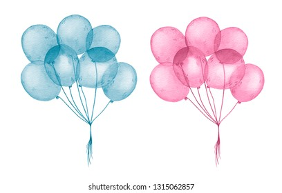 Watercolor blue and pink balloons for happy birthday holiday isolated on white background. Baby shower birthday card for children decoration kid illustration