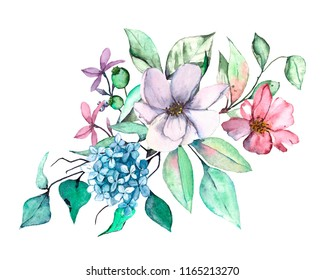 Watercolor blue, pink, lilac flowers bouquet.  Isolated on white. Hand drawn.