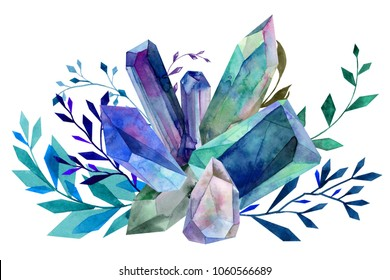watercolor blue sapphire  crystal cluster foliage bouquet ornament