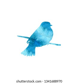 Watercolor blue silhouette of bird sitting at tree branch, sketch of titmouse, hand drawn songbird, isolated nature design element