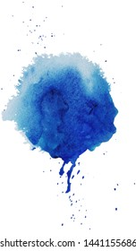 Watercolor blue splash with little dots and dark blue drops