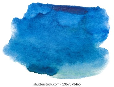 Watercolor blue stain on white background isolated. Element with paint and watercolor paper texture. Background for design of postcards and print.