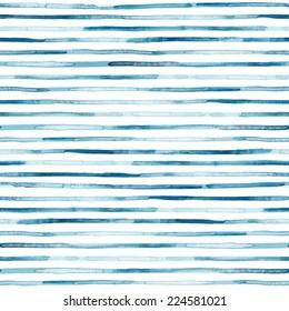 Watercolor blue stripes. Seamless pattern