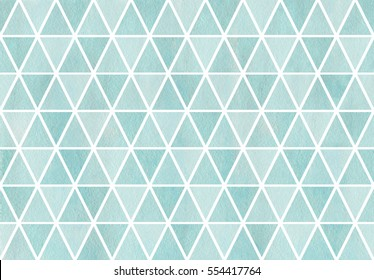Watercolor blue triangle pattern.