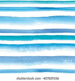 Watercolor blue and turquoise striped seamless pattern