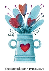 Watercolor blue vase with red hearts leaves. Handdrawn watercolor painted clip art, Saint Valentine's Day decoration and symbol. Perfect for decoration of invitations, posters and packaging.