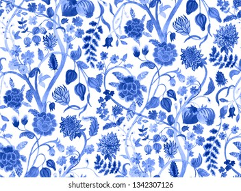 Watercolor blue vintage background with blooming flowers and ripe fruits and berries. Chinese pattern. Chinoiserie. Seamless pattern