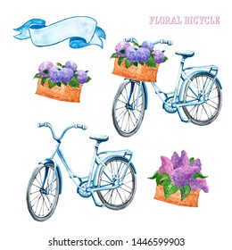 Watercolor blue vintage bicycle, isolated on white background. Hand painted romantic bike set with basket and flowers. Blue hydrangea and purple lilac floral bouquets. Summer illustration.