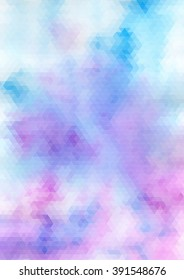 Watercolor blue and violet triangle abstract background.