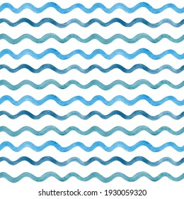 Watercolor blue waves on a white background. Hand drawn horizontal curly lines. Simple seamless pattern in nautical style. Stylised sea water. Summer ocean ornament for wallpaper and fabric design