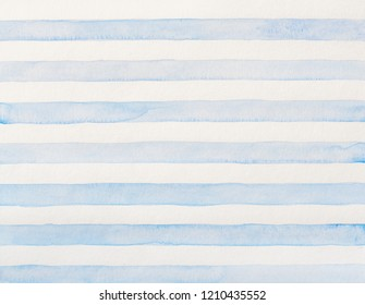 Watercolor of blue and white stripes. Striped watercolor drawing, design elements. Abstract background.