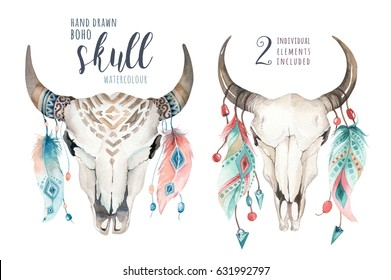 Watercolor bohemian cow skull and feather. Western mammals. Boho hipster deer boho decoration print antlers. flowers, feathers. Isolated on white background. Hand drawn ethnic themed design.