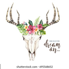 Watercolor bohemian cow skull and tropic palm leaves. Western deer mammals. Tropical deer boho decoration print antlers. flowers, leaves feathers. Isolated on white background. Aloha