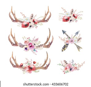 Watercolor bohemian deer horns. Western mammals. Watercolour hipster boho decoration print antlers. flowers, feathers. Isolated, white background. Boho  antler. Hand drawn ethnic wreath design.