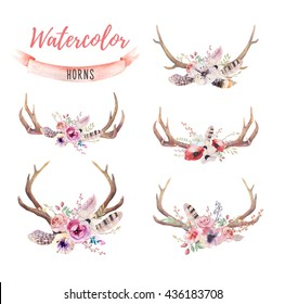 Watercolor bohemian deer horns. Western mammals. Watercolour hipster decoration print antlers. flowers, feathers. Isolated, white background. Boho antler. Hand drawn ethnic wreath design.
