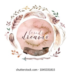 Watercolor bohemian floral wreath. Bohemian natural frame: leaves, feathers, flowers, Isolated on white background. Artistic decoration illustration. Save the date, weddign design,valentine's day